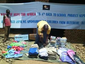 Volunteer sorting donations