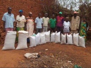 A line up of people with rice bags