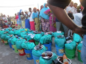People lined up for emergency relief