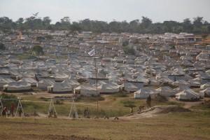 Hundreds of tents set up at Mahama Camp