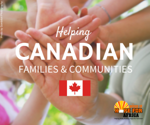 """Several hands stacked over each other with """"Helping Canadian Families & Communities"""" overlayed"""