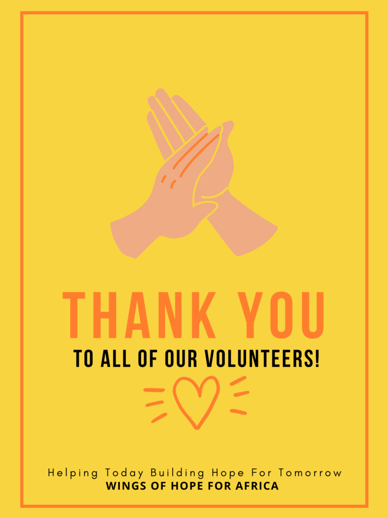 A thank you poster to our volunteers. Helping today building hope for tomorrow.